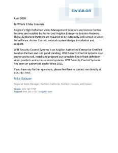 Avigilon Authorized Dealer