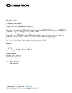 Crestron Dealer Authorization Letter