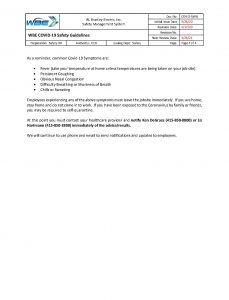 WBE COVID-19 Safety Guidelines